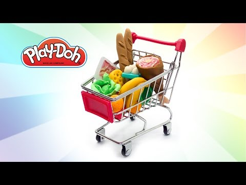 Dolls Shopping Cart. Play Doh Food. Dolls Grocery Store Pretend Play. Toy Supermarket