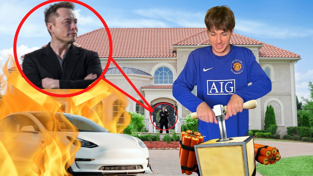 BLOWING UP A TESLA AT ELON MUSKS HOUSE!