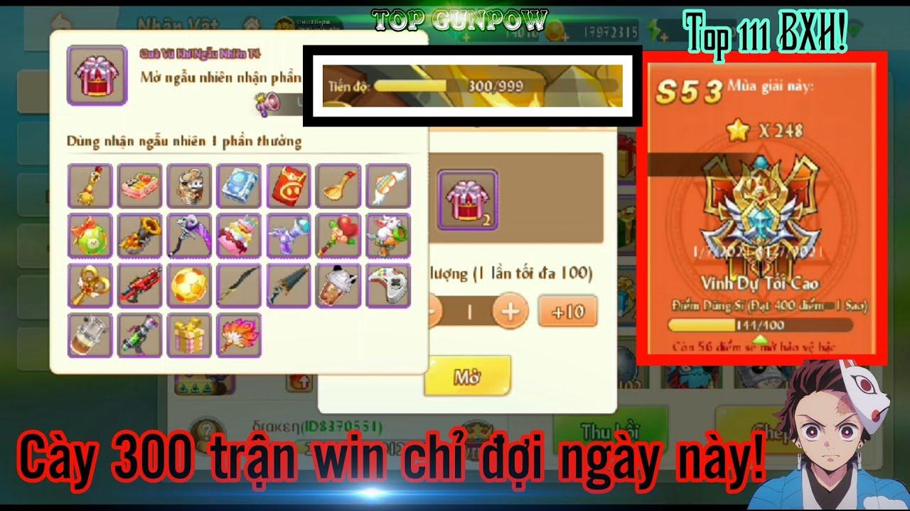 [Top Gunpow] Full 300 trận rank win,đập hộp X2 vũ khí vip và cái kết… • VDTC top 111 BXH!