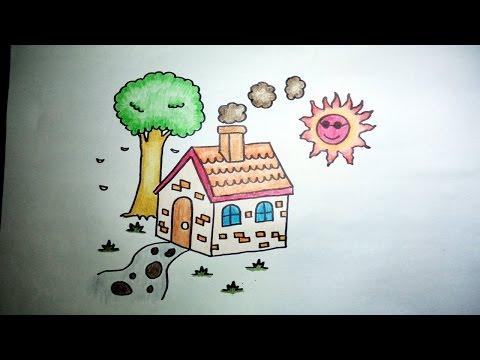 บ้านน้อย สอนวาดรูปการ์ตูนง่ายๆ ระบายสี How to Draw a House for Kids Step by Step
