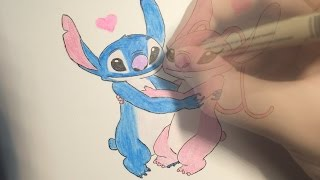How to draw Stitch with Angel - drawing timelapse