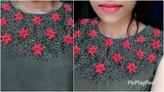 150 രൂപയുടെ തുണി 1500 രൂപയുടെ Designer ചുരിദാർ ആക്കാം ₹30 ന് hand work ലൂടെ|Fashion|