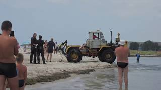 Приколы!!! Лето 2018 Лазурное. Как трактор с моря доставали!!!