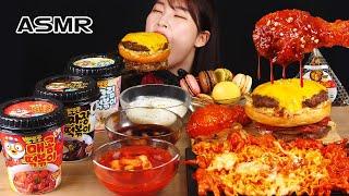 ASMR MUKBANG| 편의점 직접 만든 핵불닭 떡볶이 양념치킨 햄버거 디저트 먹방 & 레시피 FRIED CHICKEN AND BBororo Tteokbokki EATING