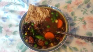 Going Vegan! Simple veggie bean soup