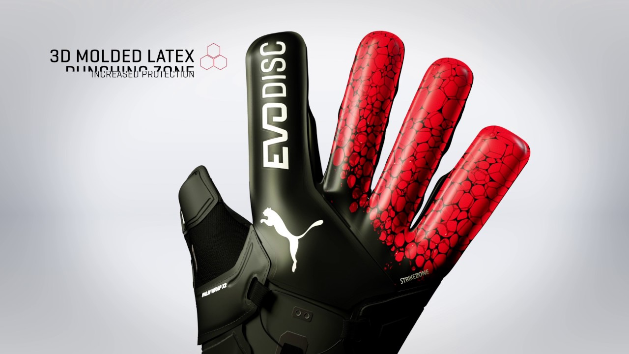 95ae0a9e6 PUMA evoDISC Black/Fiery Coral Goalkeeper Gloves - YouTube