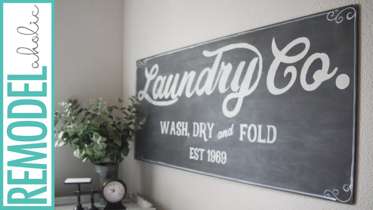 Remodelaholic | Fixer Upper Inspired Farmhouse Laundry Sign