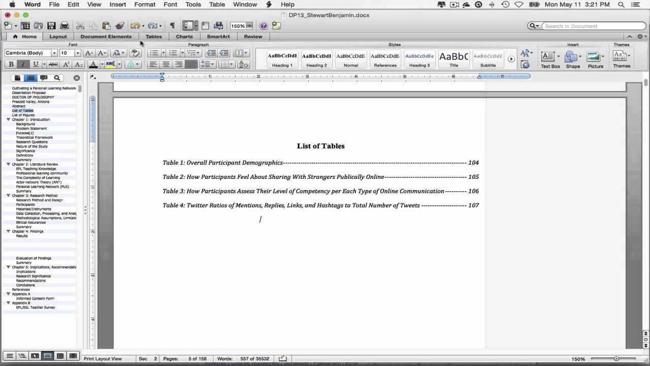 Creating a list of tables in microsoft word 2011 for mac for Table design on word