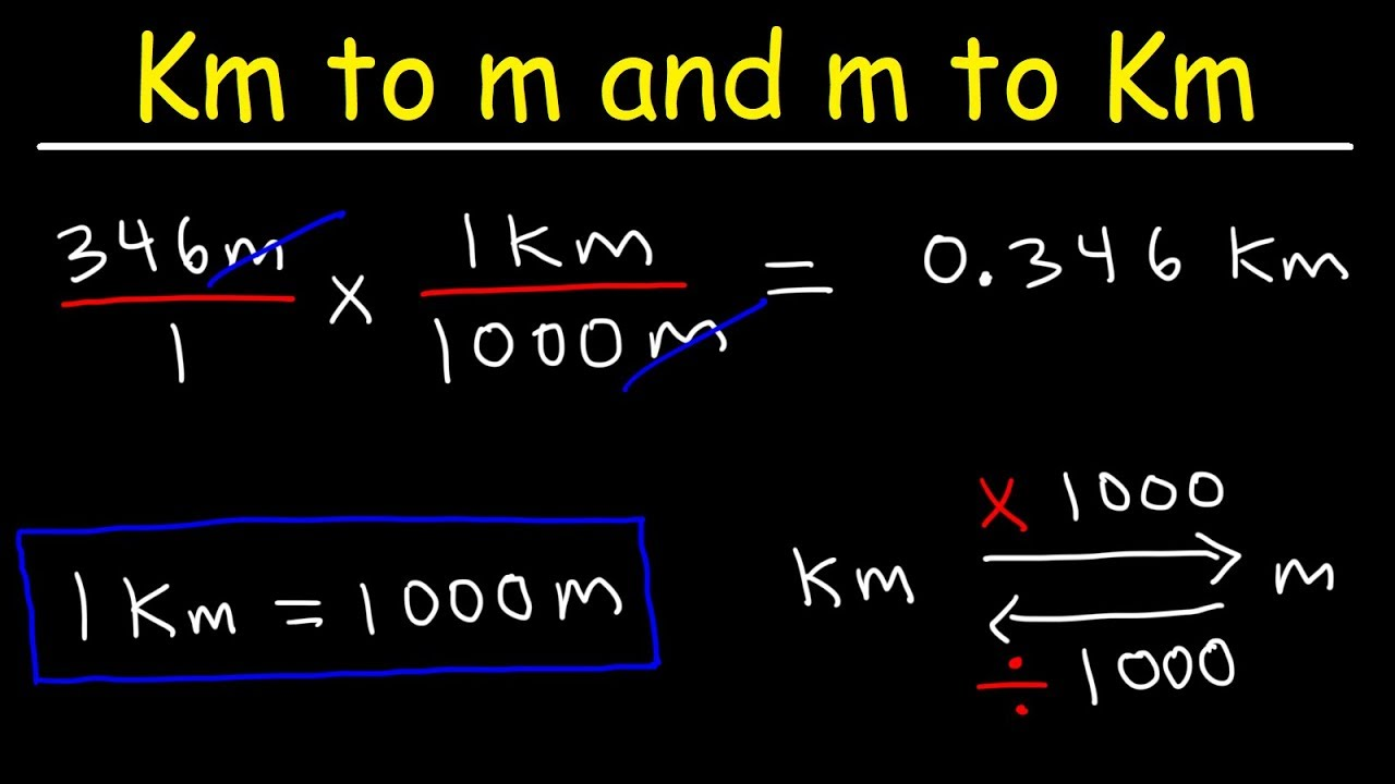 How To Convert From Kilometers To Meters And Meters To Kilometers Km To M And M To Km Youtube