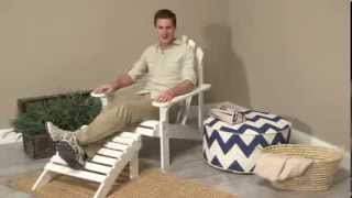 Coral Coast White Painted Acacia Adirondack Chair With Ottoman - Product Review Video