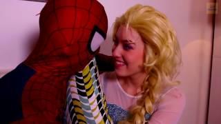Frozen Elsa, Spiderman vs Joker W/ Catwoman in Real Life Superhero Battle Movie ! :)