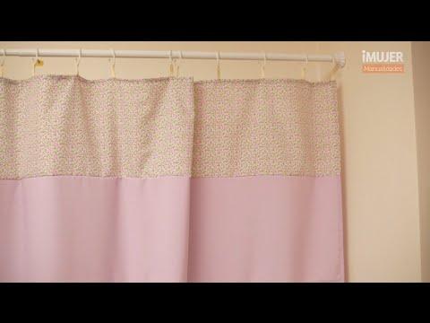 Cortina de baño en telas de colores  Cómo hacer cortinas ...