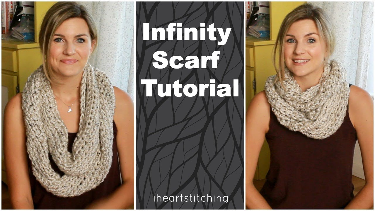 Easy Crochet Infinity Scarf Tutorial - YouTube