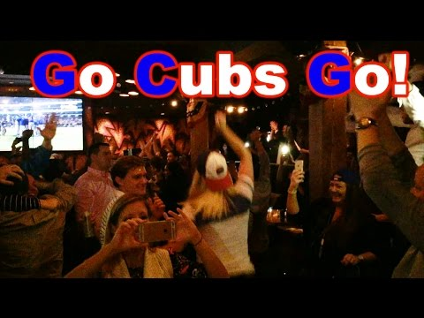 Chicago Cubs win the 2016 world Series celebrations in Chicago Sports Bar. Go Cubs Go