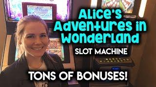 Alices Adventures in Wonderland Slot Machine! CRAZY long session So Many BONUSES!