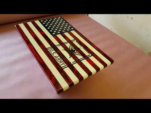 Wood Flag With Army Logo
