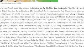 Data bất động sản Bà Rịa Vũng Tàu