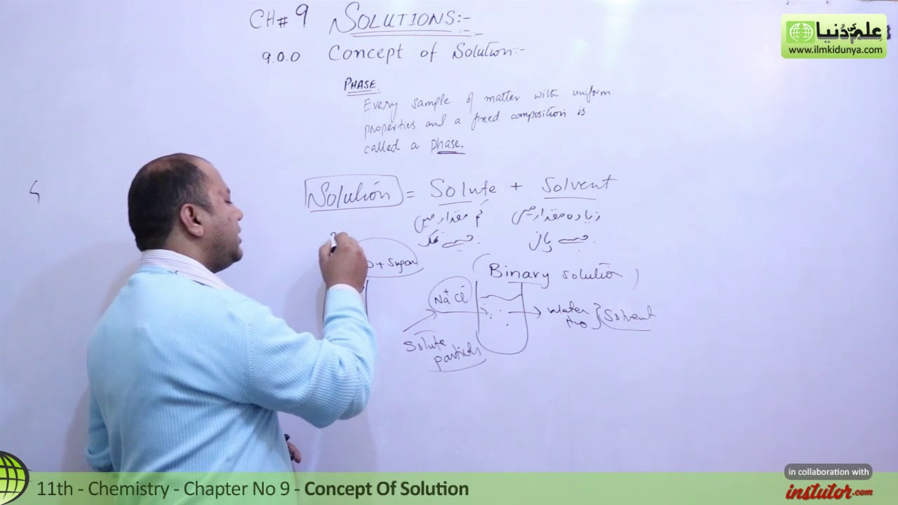 FSC Chemistry book 1 ch 9,Concept of Solution-Chemistry ch 9-First year  Chemistry