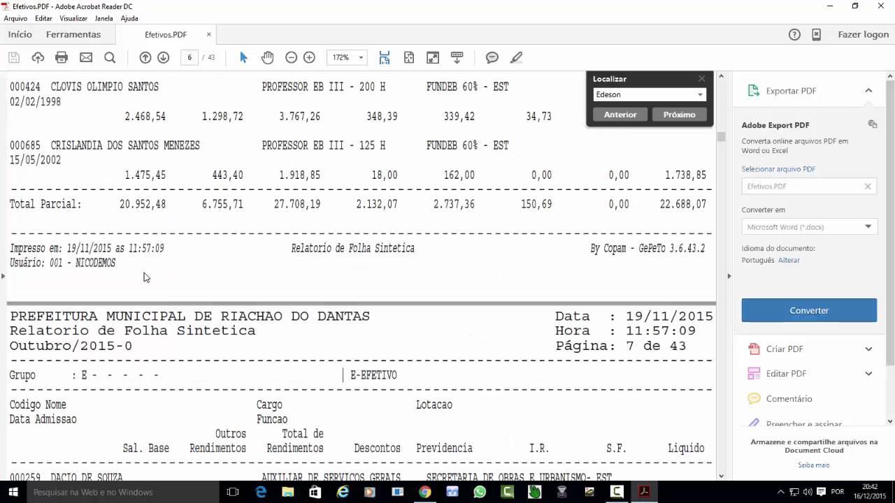 Transparência Folha De Pagamento Do Professor De Riachão