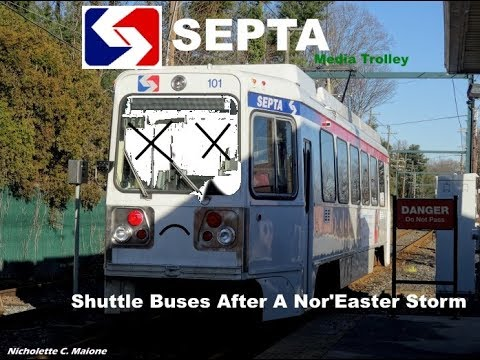 TVS-SEPTA Suburban Trolleys & Buses: Shuttle Buses On The 101 Media Line After A Nor'Easter