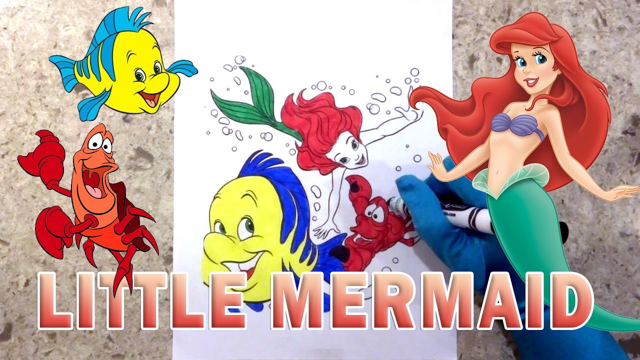 the little mermaid how to color princess ariel sebastian flounder