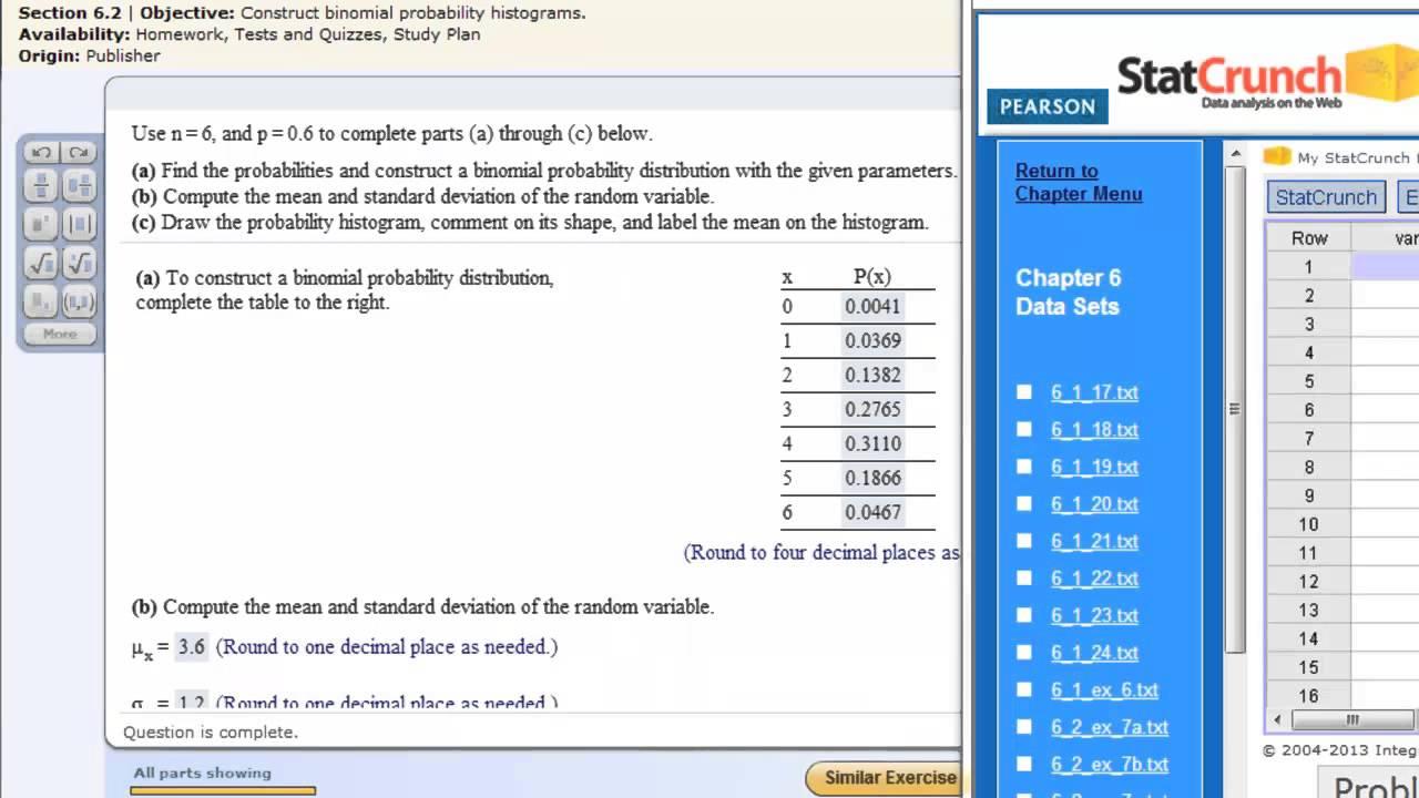 Binomial Probability Distributions Statcrunch