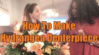 How To Make Hydrangea Centerpiece| Centerpiece For Dining Table Thanksgiving 2019