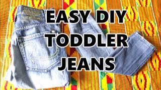 DIY TODDLER JEANS: easy upcycle from adult jeans