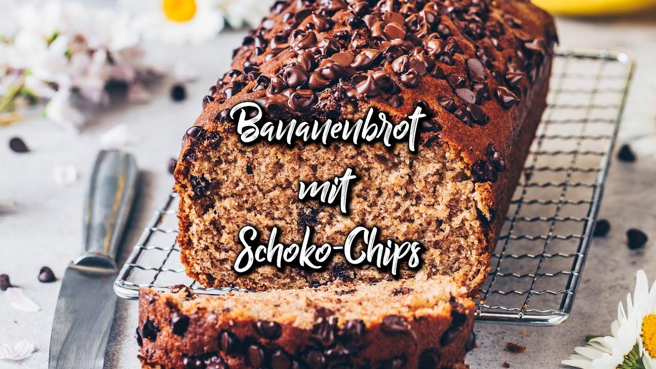 Bananenbrot mit Schoko-Chips (Veganer Kuchen) * Rezept