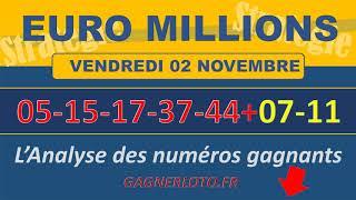 EUROMILLIONS NUMEROS GAGNANTS TIRAGE VENDREDI 2 NOVEMBRE