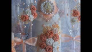 Комплект свадебных аксессуаров в персиковом цвете. Свадьба в персиковом цвете.