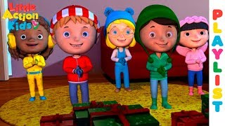 Kids Christmas Carols Playlist with Lyrics   Sing and Dance for Kids   Little Action Kids