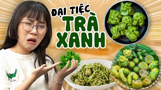 MisThy eats everything with Green Tea. Looks like that but it's not like that || FOOD CHALLENGE