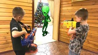 Nerf Game children vs alien нерф игра Дети против Инопланетян