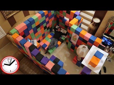 CRAZY INDOOR FOAM PIT FORT!! (24 HOUR OVERNIGHT CHALLENGE)