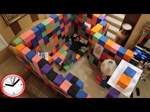 CRAZY INDOOR FOAM PIT FORT!! (24 HOUR OVERNIGHT CHALLENGE) | FaZe Rug