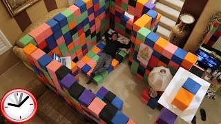 CRAZY INDOOR FOAM PIT FORT!! (24 HOUR OVERNIGHT CHALLENGE) | Challenges | FaZe Rug