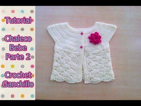 DIY Como tejer chaleco bolero para bebe niña con flor a crochet, ganchillo (2/2)