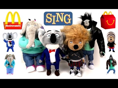 2016 SING MOVIE PLUSH McDONALD'S HAPPY MEAL TOYS TALKING SINGING COMPLETE SET COLLECTION 2017 REVIEW