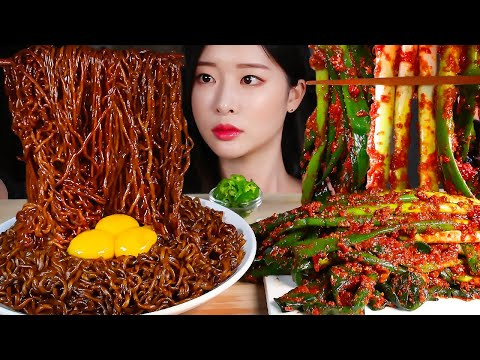MUKBANG Mie Kacang Hitam X3 Kimchi Bawang Hijau Besar * Paprika Pedas Makanan Enak Eating Show