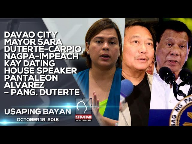 DAVAO CITY MAYOR SARA DUTERTE CARPIO, NAGPA IMPEACH KAY DATING HOUSE SPEAKER PANTALEON ALVAREZ