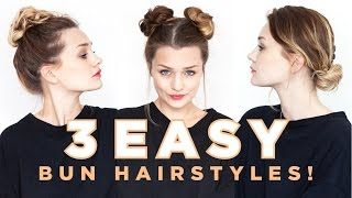 3 Easy Bun Hairṡtyles | Tiny Twisst