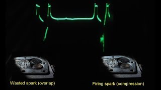 Real time wasted spark ignition system demo, combustion spark line analysis E33