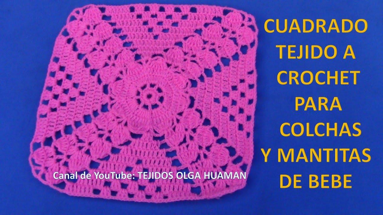 Como Hacer Cuadros De Crochet Para Mantas.Cuadrado A Crochet Flor Con Hojitas Para Tejer Cobijas De Bebe Y