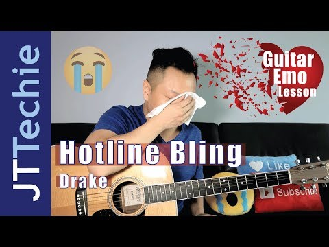 How To Play Hotline Bling By Drake On Acoustic Guitar For Beginners | Guitar Emo