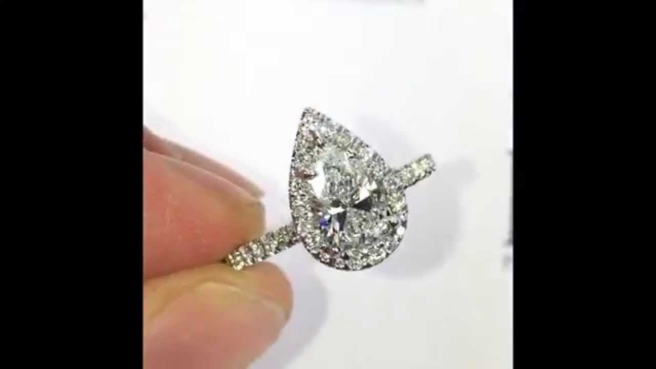 1 Ct Pear Cut Diamond Engagement Ring In Halo Youtube