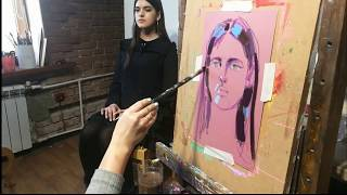 Урок рисования гуашью яркого портрета