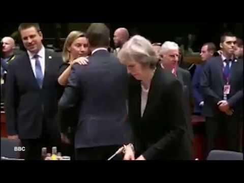 Theresa May Ignored by World Leaders at EU Summit - Lonely Theresa May