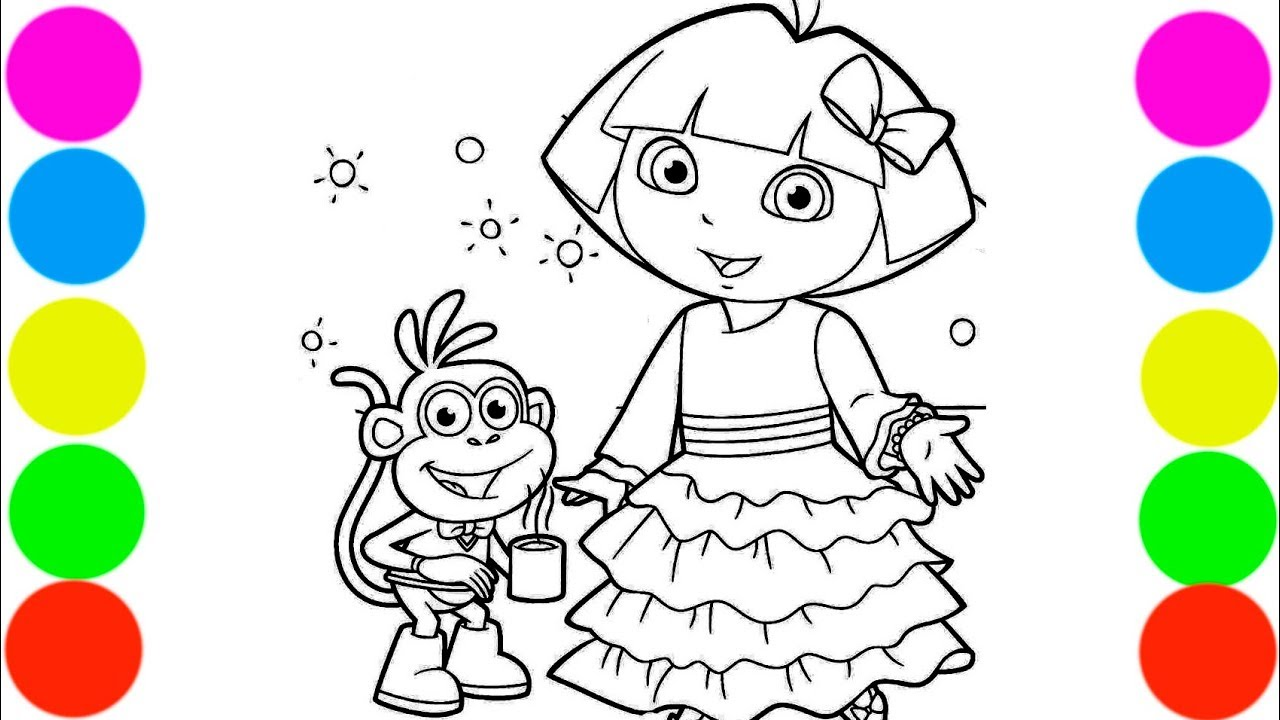 Dora and Monkey Boots Coloring Book For Kids Art Colors ...