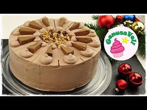 festliche NOUGAT-KROKANT-TORTE | Nuss-Nougat-Torte mit Haselnusskrokant | ohne Gelatine